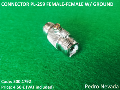 CONNECTOR PL-259 FEMALE-FEMALE W/ GROUND - Pedro Nevada