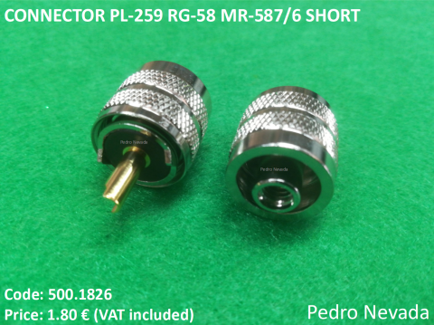 CONNECTOR PL-259 RG-58 MR-587/6 SHORT BAKELITE - Pedro Nevada